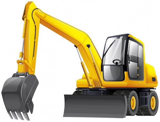 Vehículo excavadora trabajando vector gratuito