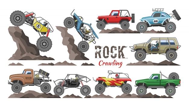 Vehículo de rock de dibujos animados de monster truck arrastrándose en rocas y transporte extremo ilustración de coche rocoso Vector Premium