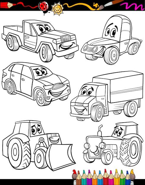Vehículos De Dibujos Animados Para Colorear Libro Vector