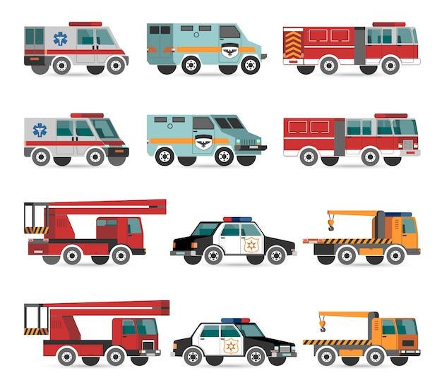 Vehículos planos de emergencia vector gratuito