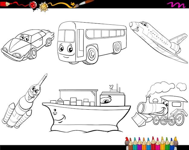 Vehículos de transporte para colorear | Descargar Vectores Premium