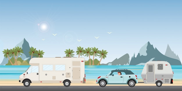Vehículos en un viaje Vector Premium
