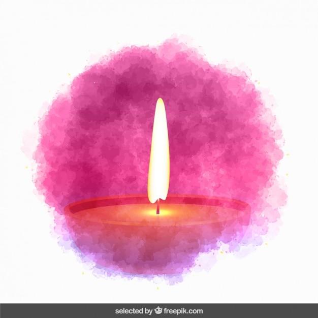 Vela de diwali en estilo de la acuarela vector gratuito