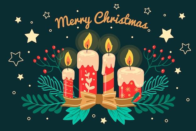 Vela de navidad de fondo dibujado a mano vector gratuito