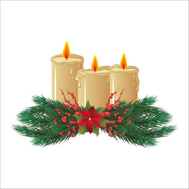 Velas de cera. decoración navideña, decoración. feliz navidad y un feliz año nuevo. fondo blanco aislado. Vector Premium
