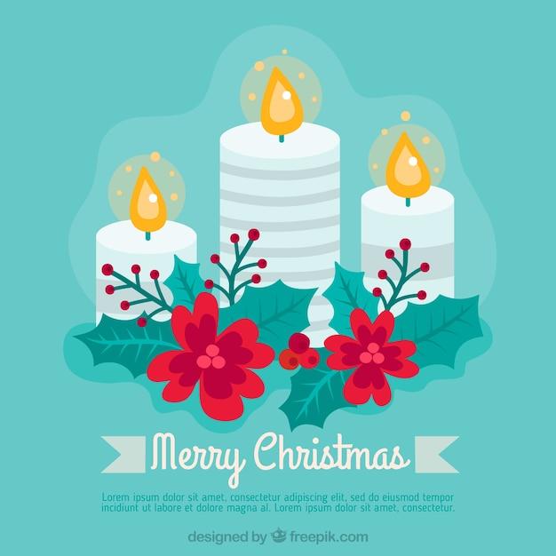 Velas de navidad decoradas con flores rojas descargar vectores gratis - Velas decoradas para navidad ...