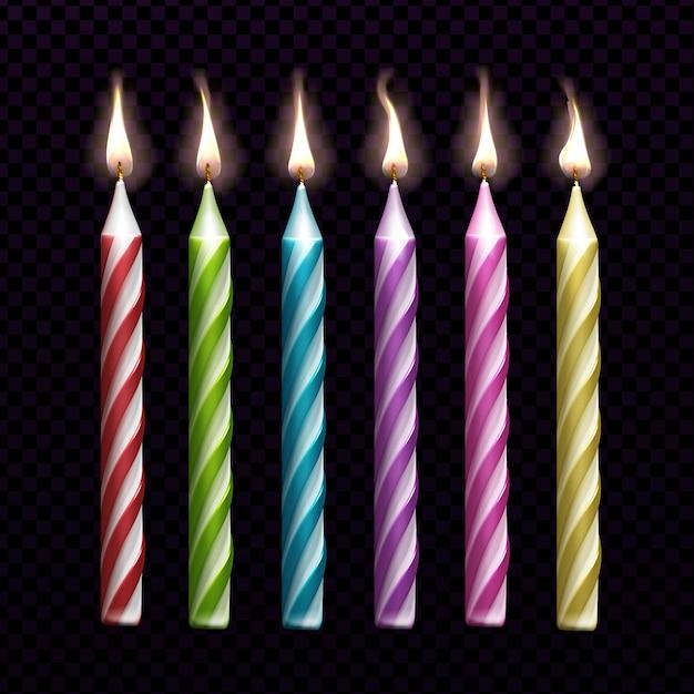 Velas encendidas para pastel de cumpleaños conjunto aislado vector gratuito
