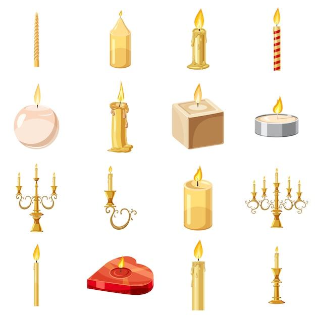Velas formas conjunto de iconos, estilo de dibujos animados Vector Premium