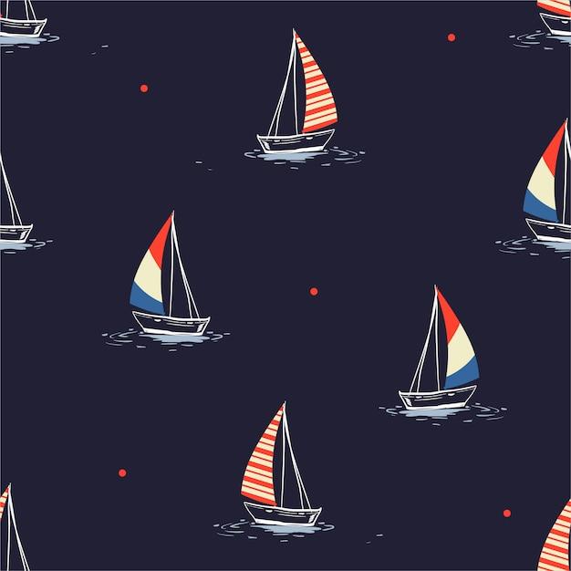 Velero dibujado a mano en el patrón del mar Vector Premium