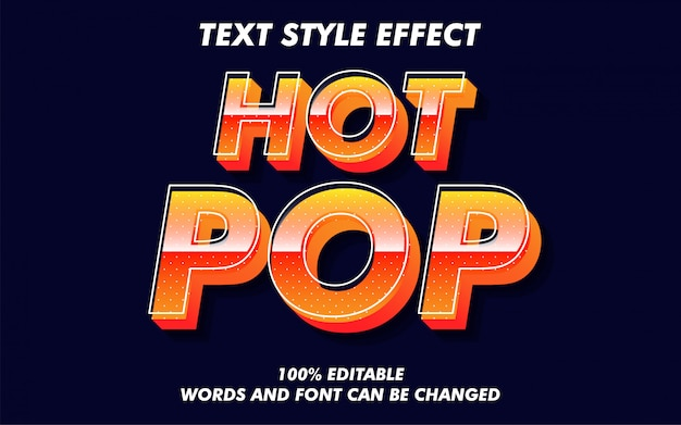 Venta caliente pop art style texto estilo efecto Vector Premium