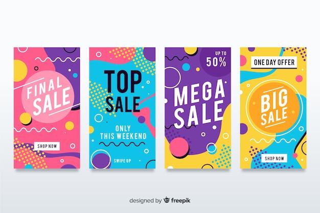 Venta de colección de banners en estilo memphis. vector gratuito