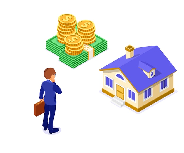 Venta, compra, alquiler, hipoteca, casa, concepto, isométrico, con, hogar, dinero, y, hombre de negocios, con, maletín, pensamiento, invertir, dinero, en, bienes raíces Vector Premium