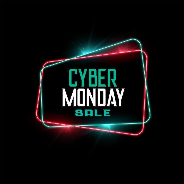 Venta de cyber monday en banner de estilo de marco de neón vector gratuito