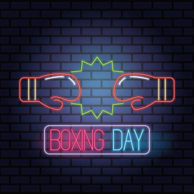 Venta De Día De Boxeo Luces De Neón Con Guantes Diseño De
