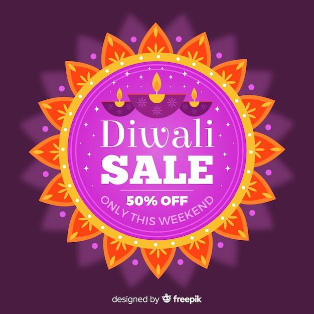 Venta de diwali de diseño plano vector gratuito