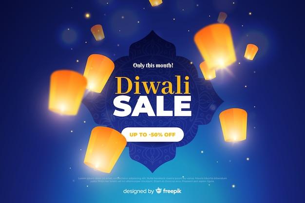 Venta de diwali con linternas brillantes vector gratuito