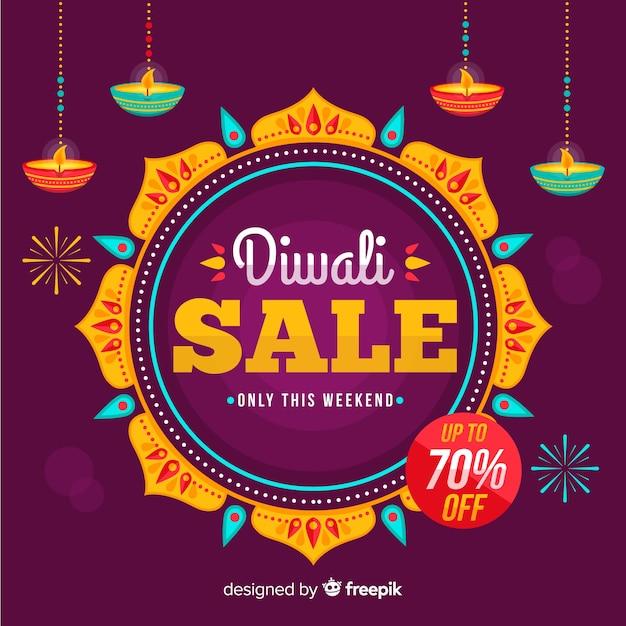 Venta de diwali plana con 70% de descuento vector gratuito