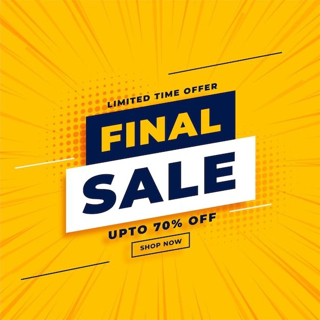 Venta final amarilla con detalles de la oferta vector gratuito