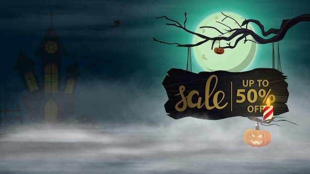 Venta de halloween, -50% de descuento, banner de descuento horizontal con paisaje nocturno y tablero de madera vieja con oferta Vector Premium