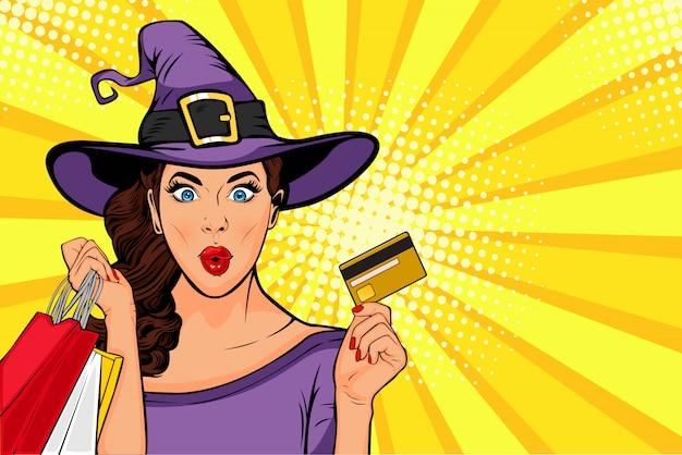 Venta de halloween pop art jovencita en traje de bruja y bolsas de compras Vector Premium