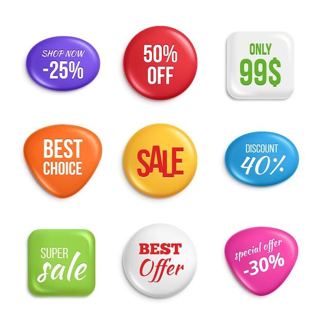 Venta de insignias. etiquetas mejores ofertas y ventas Vector Premium