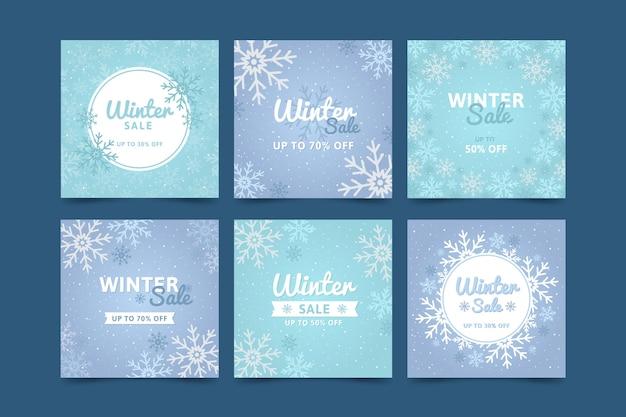 Venta de invierno instagram post collection vector gratuito