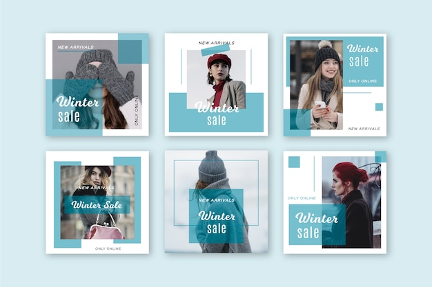 Venta de invierno instagram post collection Vector Premium