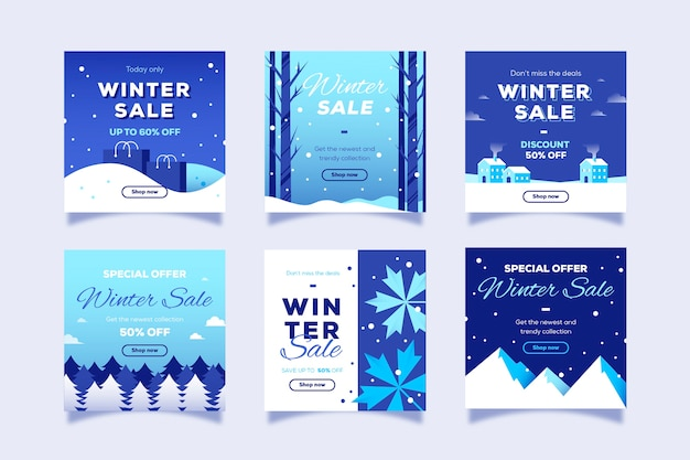 Venta de invierno instagram post collection vector gratuito