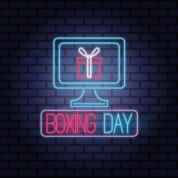 Venta De Luces De Neón Del Día Del Boxeo Con Diseño De