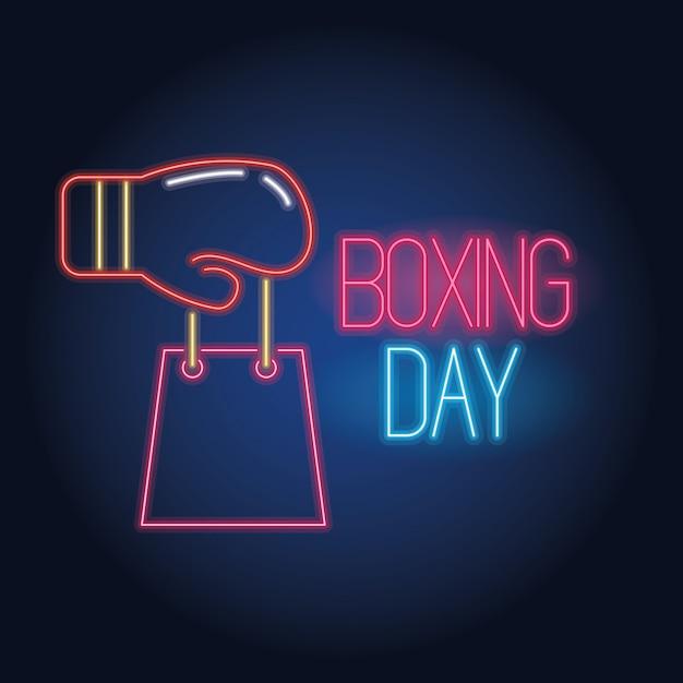 Venta De Luces De Neón Del Día Del Boxeo Con Guante Y Bolsa