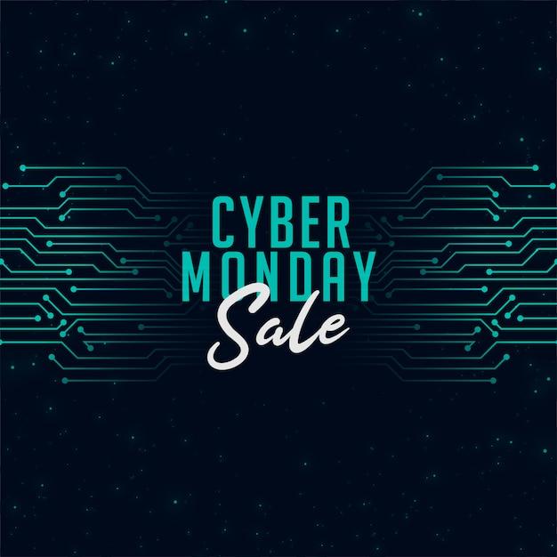 Venta de lunes cibernético en banner de estilo tecnológico vector gratuito