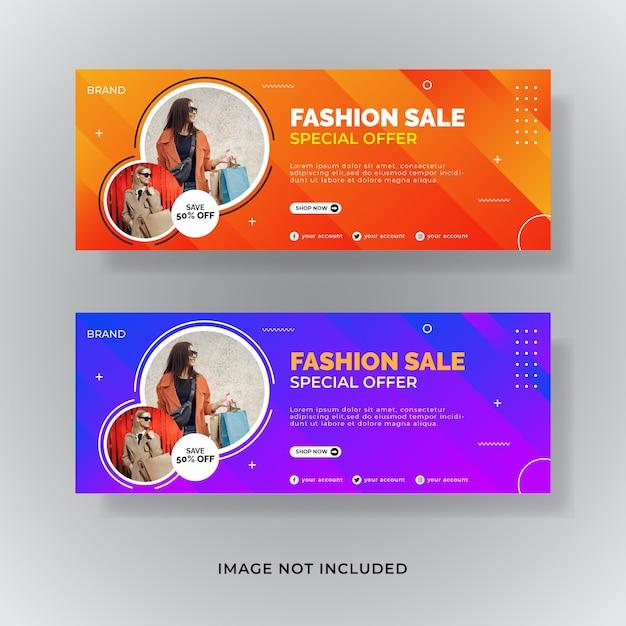 Venta de moda portada de facebook banner de publicación de redes sociales Vector Premium