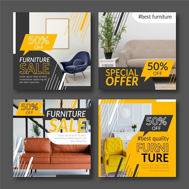 Venta de muebles colección de publicaciones de instagram vector gratuito