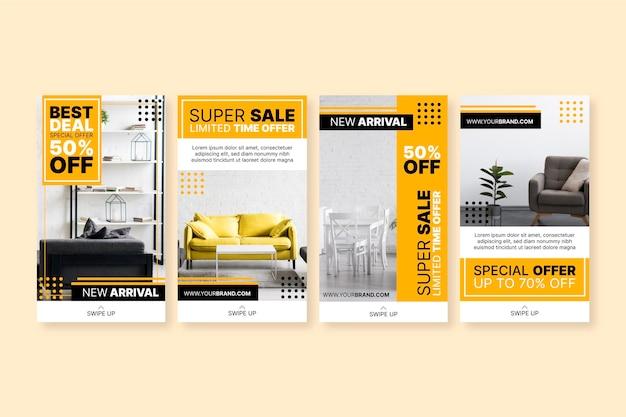 Venta de muebles historias de instagram con foto. vector gratuito