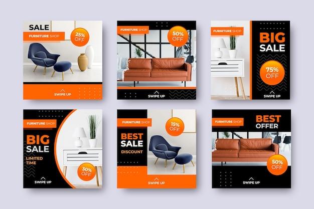 Venta de muebles ig post set con imagen vector gratuito