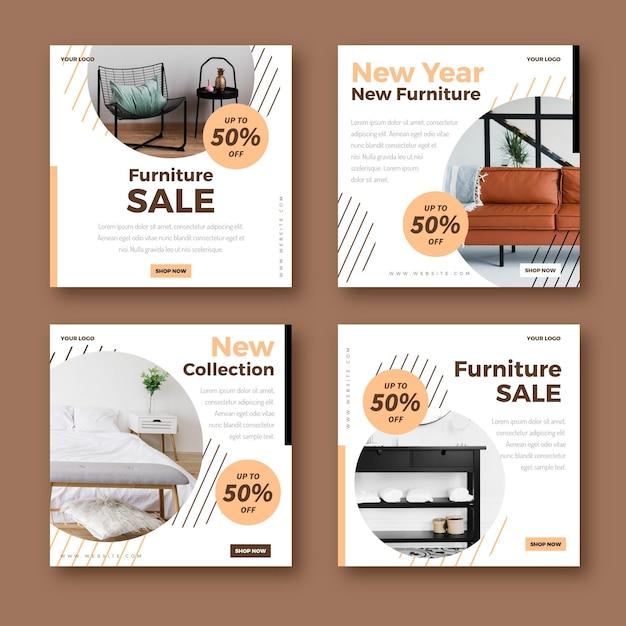 Venta de muebles publicaciones de instagram Vector Premium