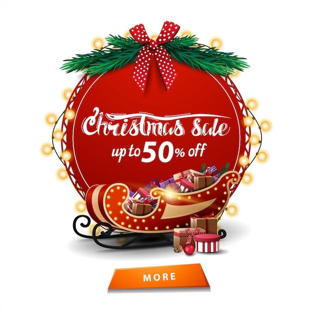 Venta de navidad, hasta 50% de descuento, banner redondo de descuento rojo con guirnalda Vector Premium