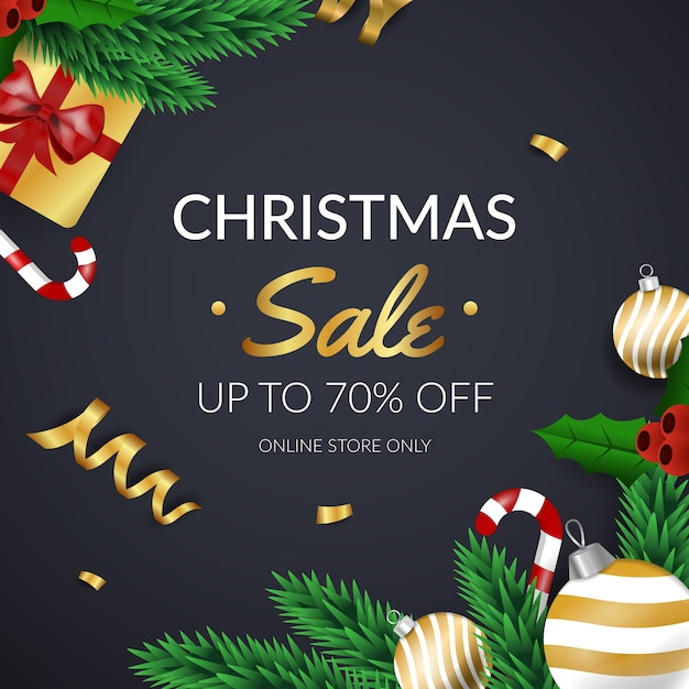 Venta de navidad dorada con hojas de pino y regalos vector gratuito