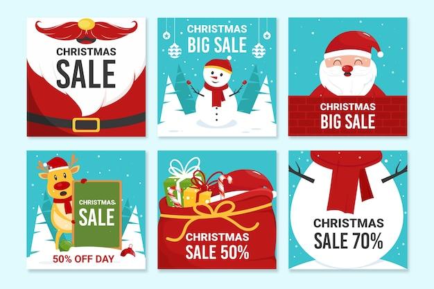 Venta de navidad instagram post collection vector gratuito