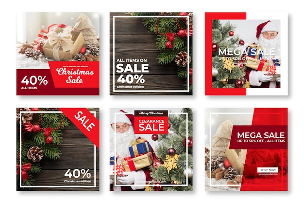 Venta de navidad instagram post collection vector gratuito