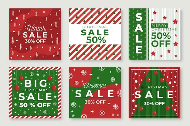 Venta de navidad instagram post set vector gratuito