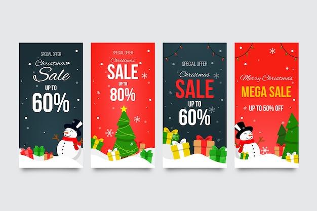 Venta de navidad instagram story collection vector gratuito