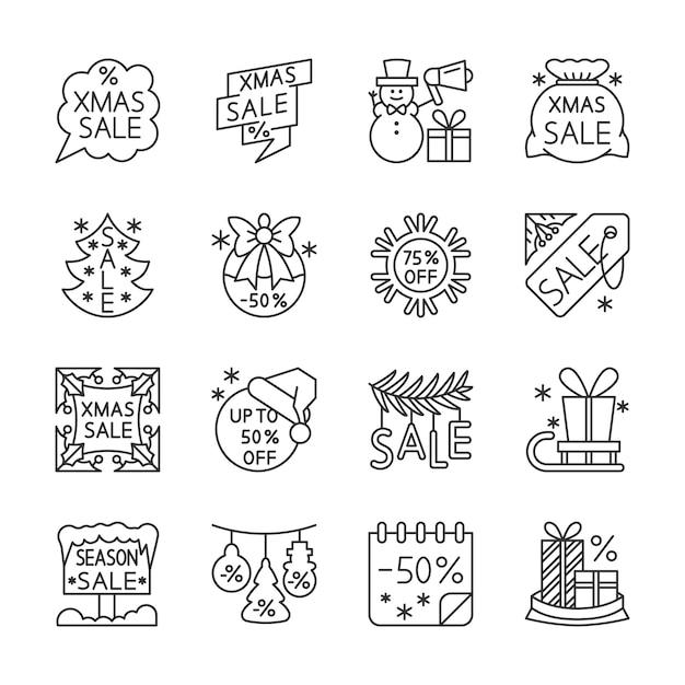 Venta de navidad, liquidación, conjunto de iconos de líneas de descuento, invierno, navidad, año nuevo signo de oferta especial. Vector Premium