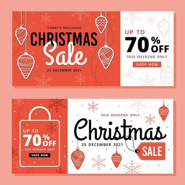 Venta de navidad pancartas en diseño plano vector gratuito