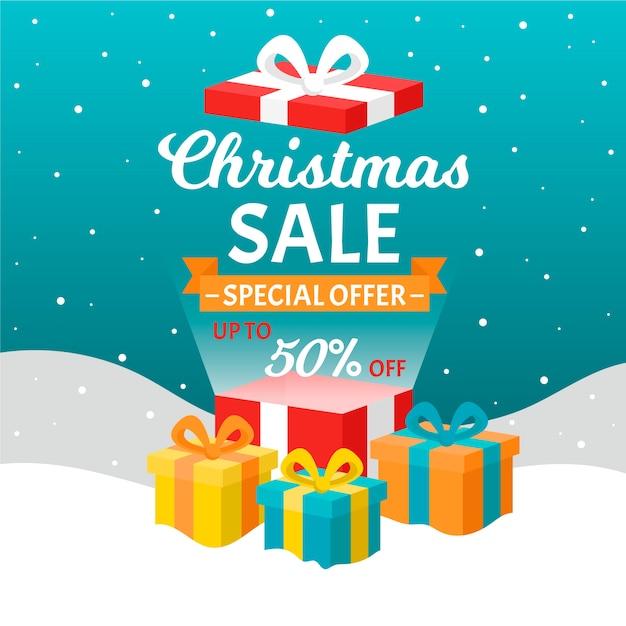 Venta de navidad plana y cajas de regalo coloridas envueltas vector gratuito