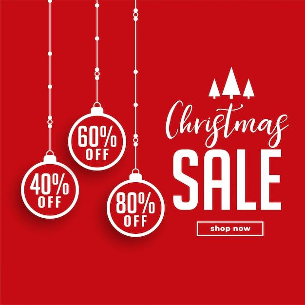 Venta de navidad roja con detalles de la oferta vector gratuito