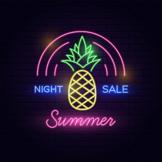 Venta de noche summer neon text Vector Premium