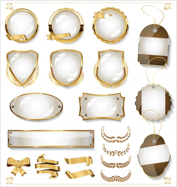 Venta de oro etiquetas colección retro diseño vintage Vector Premium