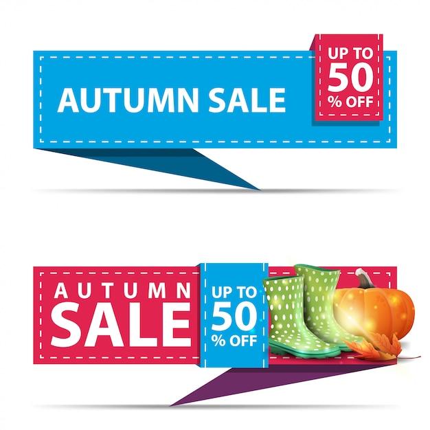 Venta de otoño, dos banners de descuento horizontal en forma de cinta. Vector Premium