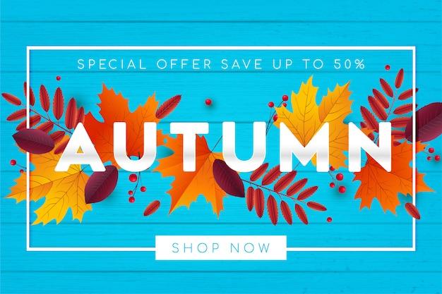 Venta de otoño de fondo con hojas. Vector Premium